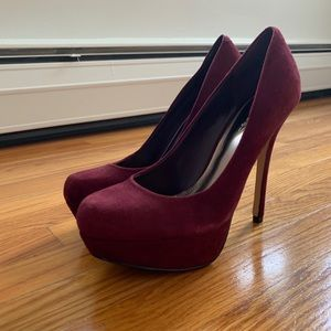 Bakers Melina suede burgundy heels